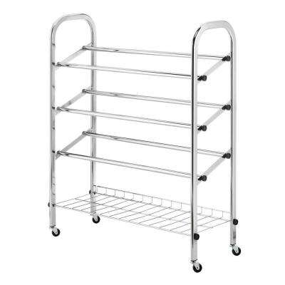 Deluxe Rack Collection 24.75 in. x 31.13 in. Rolling Shoe Rack in Chrome