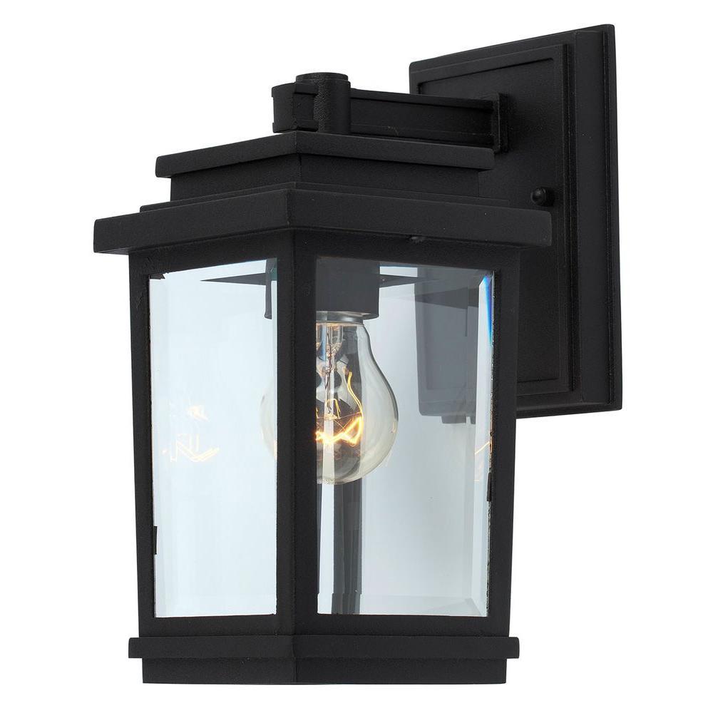 Moravia 1-Light Black Outdoor Wall Lantern Sconce