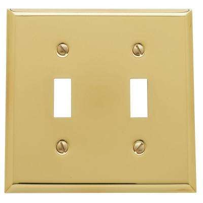 Beveled Edge 2 Toggle Wall Plate - Polished Brass