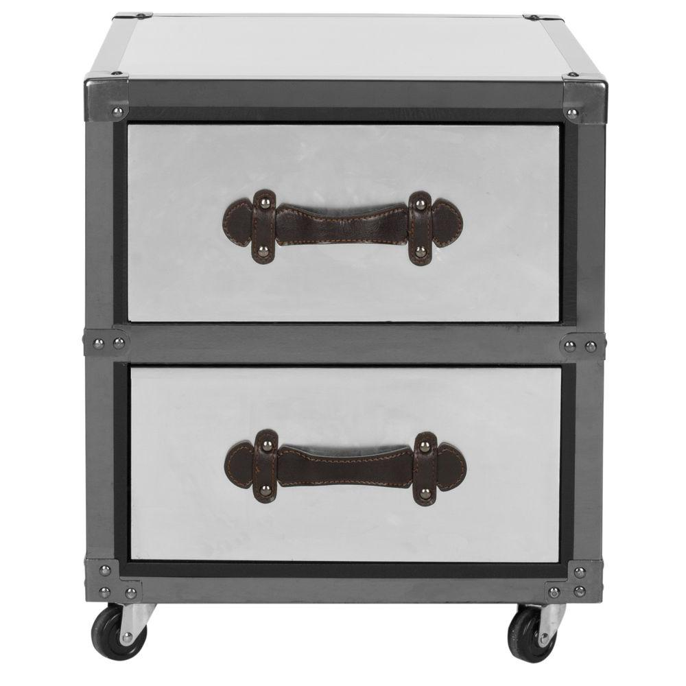 Safavieh Gage Black and Silver Mobile End Table, Black/Br...