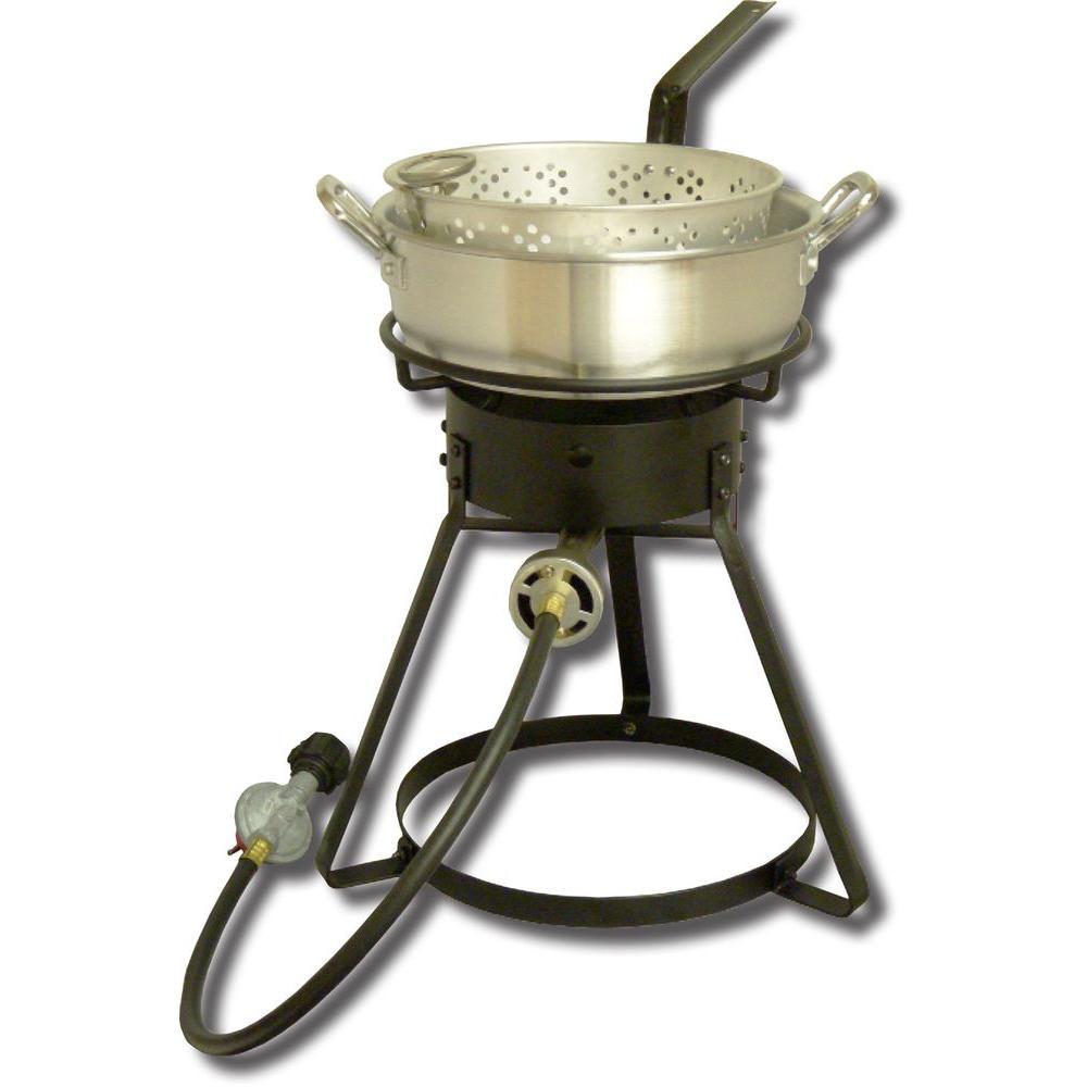 King Kooker 54,000 BTU Bolt Together Propane Gas Outdoor Cooker with 7 qt. Aluminum Fry Pan and Basket
