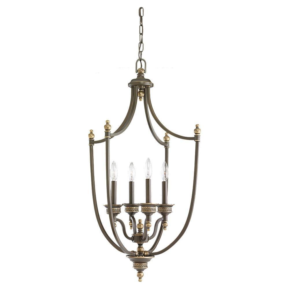 Laurel Leaf 4-Light Estate Bronze Hall/Foyer Pendant