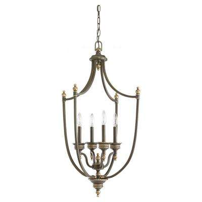 Laurel Leaf 4-Light Estate Bronze Hall/Foyer Pendant
