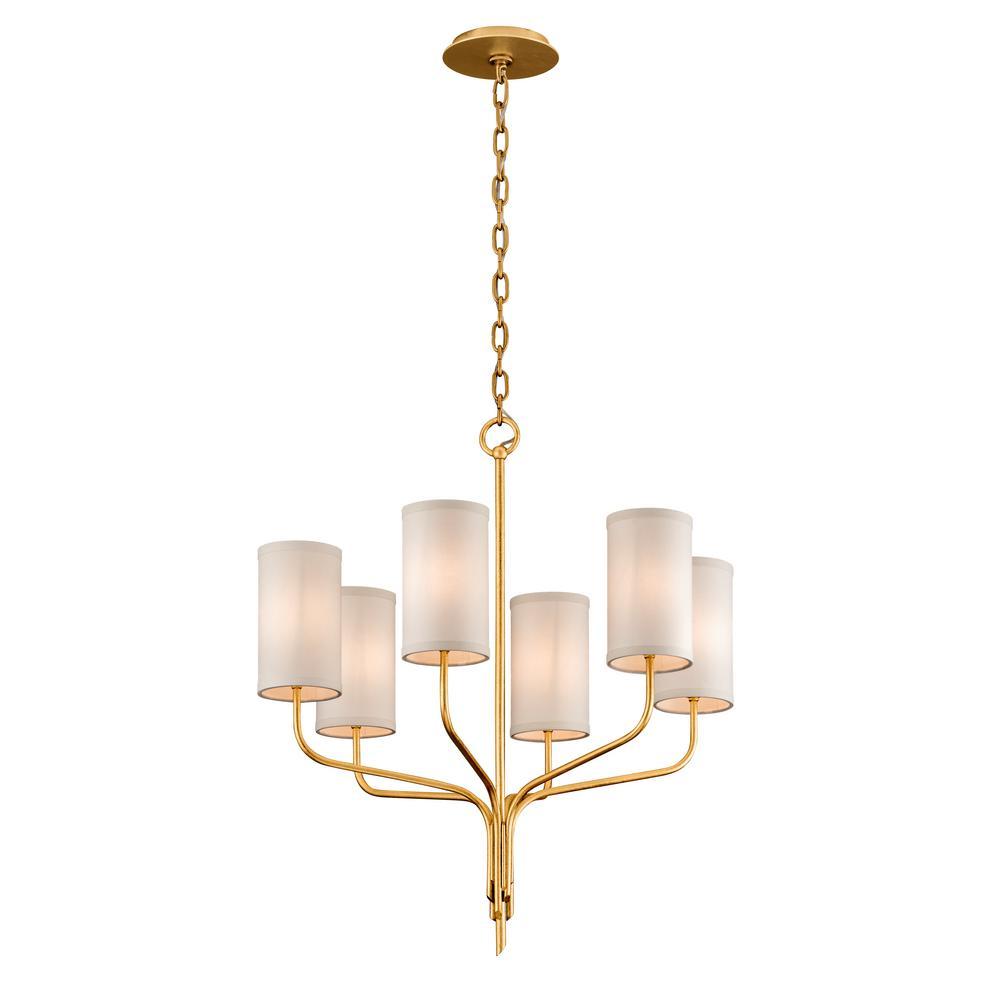 Troy Lighting Juniper 6 Light Textured Gold Leaf 25 5 In D Chandelier With Off White Hardback Linen Shade