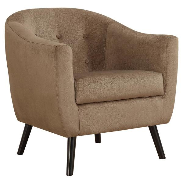 Light Brown Mosaic Velvet Accent Chair