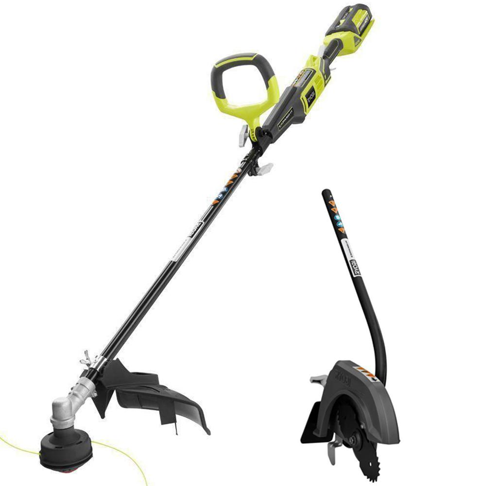 Ryobi Expand-it 40-Volt Straight Shaft Lithium-Ion Cordless Trimmer w/ Edger Attachment - 2.6 Ah Battery and Charger Included