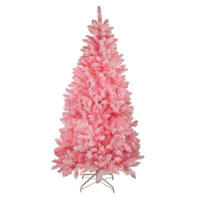 84 in. Pink Pre-Lit Flocked Artificial Christmas Tree with Clear Lights