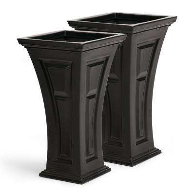 Tall 16 in. x 28 in. Black Plastic Heritage Planter (2-Pack)