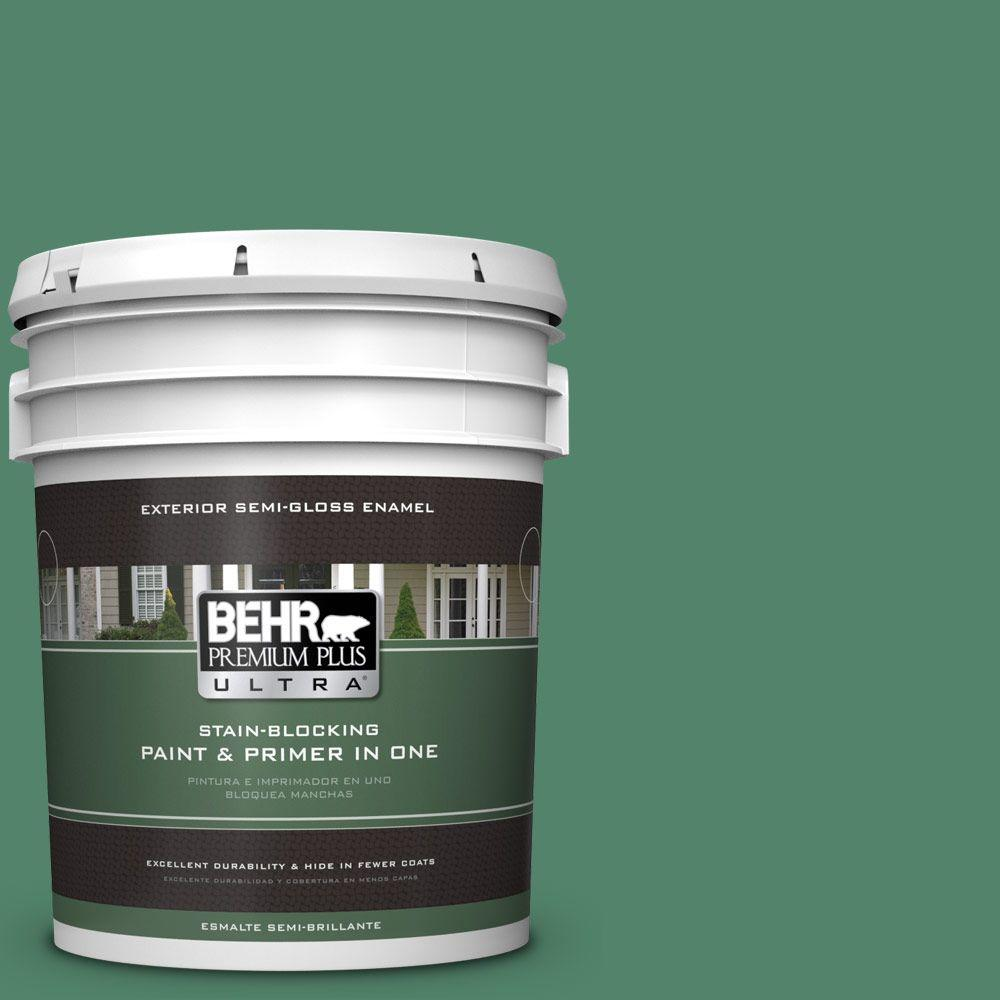 BEHR Premium Plus Ultra 5-gal. #M420-6 Tournament Field Semi-Gloss Enamel Exterior Paint