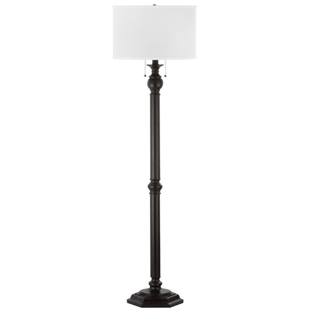 Safavieh Jessie 58.75 in. Oil-Rubbed Bronze Floor Lamp with White ...