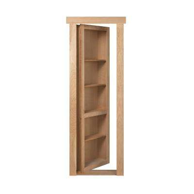 32 in. x 80 in. Unassembled Unfinshed Cherry Flush Mount Bookcase Wood Single Prehung Interior Door