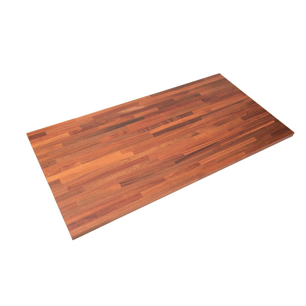 Hardwood Reflections 6 ft. 2 in. L x 3 ft. 3 in. D x 1.5 in. T Island Butcher Block Countertop in Unfinished Sapele