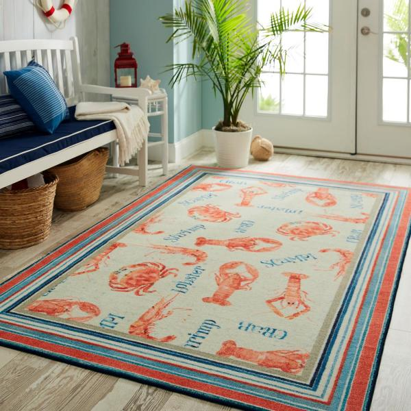 Mohawk Home Coastal Shellfish Red 5 Ft X 8 Ft Indoor Area Rug 048011 The Home Depot