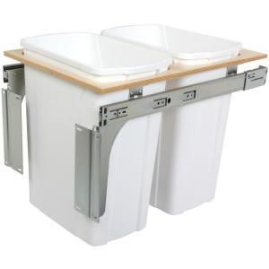 Knape & Vogt 18 inch H x 15 inch W x 23 inch D Steel In-Cabinet 35 Qt. Double Top Mount Pull Out Trash Can by Knape & Vogt