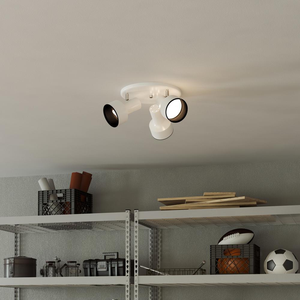 Hampton Bay 3-Light White Ceiling Spotlight