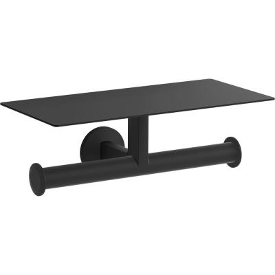 Components Covered Double Toilet Paper Holder in Matte Black