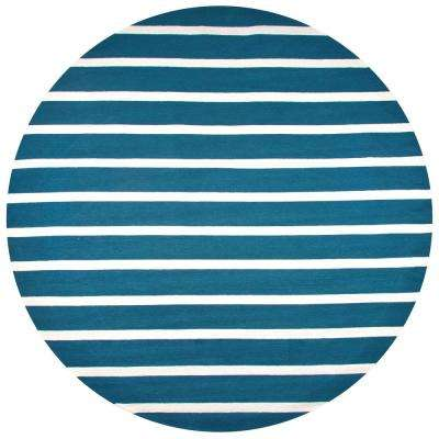 Azzura Hill Marine blue Striped 8 ft. x 8 ft. Round Outdoor Area Rug