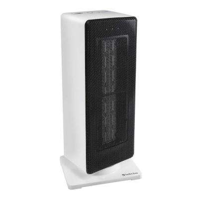 800/1,500-Watt Oscillating Ceramic Tower Heater with Safety Features in White