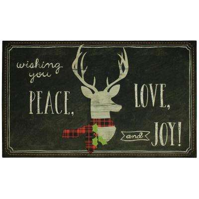 Tis the Season Deer 18 in. x 30 in. Elegant Entry Door Mat