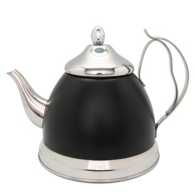 Nobili-Tea 2.0 qt. Opaque Black Stainless Steel Tea Kettle with Removable Infuser Basket, Aluminum Capsulated Bottom