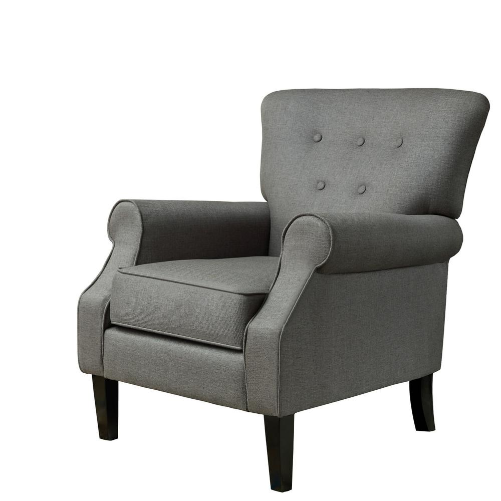 Gunmetal Gray Upholstery Arm Chair