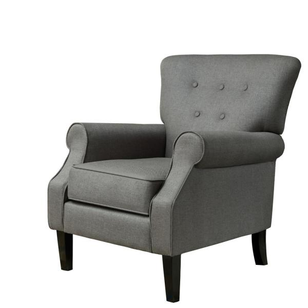 LOKATSE Gunmetal Gray Upholstery Arm Chair