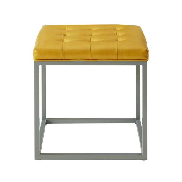 Inspired Home Lucas Yellow PU Leather Button Tufted Metal Frame Cube