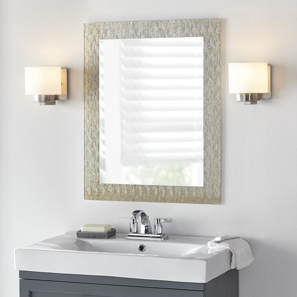 23 in. x 28.5 in. Frameless Wall Mirror in Silver