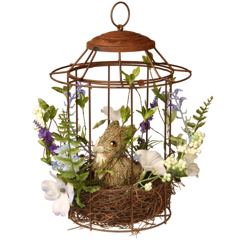 National Tree 12 in. Easter Bird cage with Rabbit, Purple...