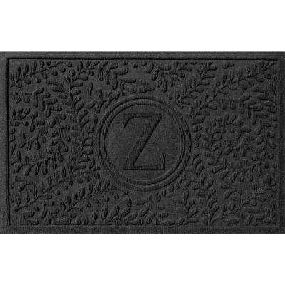 Boxwood Charcoal 24 in. x 36 in. Monogram Z Door Mat