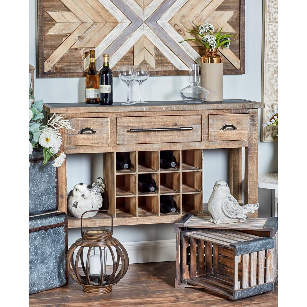 12-Bottle Distressed Brown Rectangular Wine Console