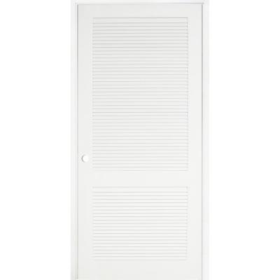 36 in. x 80 in. Primed MDF 2 Panel Right Hand Prehung Interior Louver Door