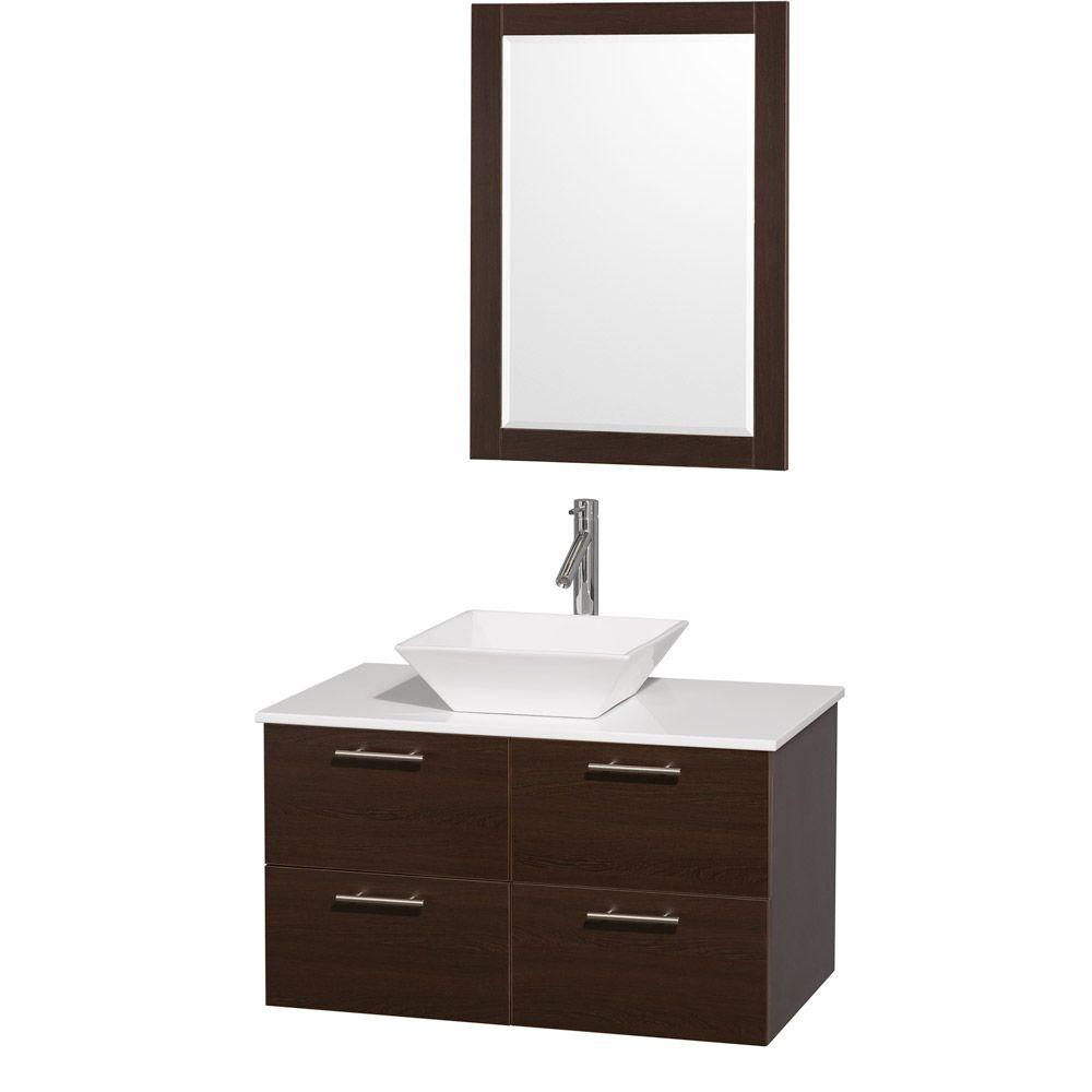 Wyndham Collection Amare 36 in. Vanity in Espresso with Man-Made Stone Vanity Top in White and White Porcelain Sink
