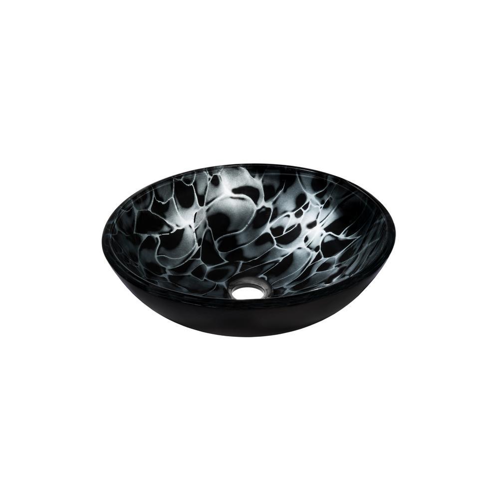 Novatto Tartaruga Glass Vessel Sink in Hand Painted Black
