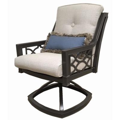 Richmond Hill Swivel Aluminum Outdoor Rocking Dining Chair with Hybrid Smoke Cushions (2-Pack)