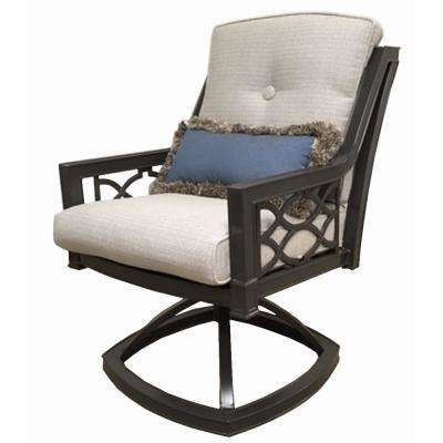 Richmond Hill Swivel Aluminum Outdoor Rocking Dining Chair With Hybrid Smoke Cushions 2 Pack