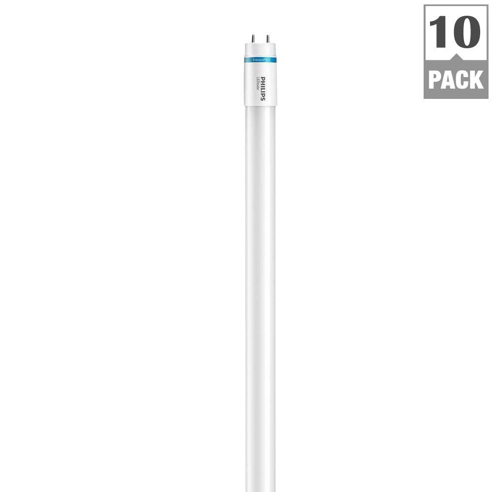 Philips InstantFit 4 ft. T8 32-Watt Soft White Linear LED Light Bulbs (10-Pack)