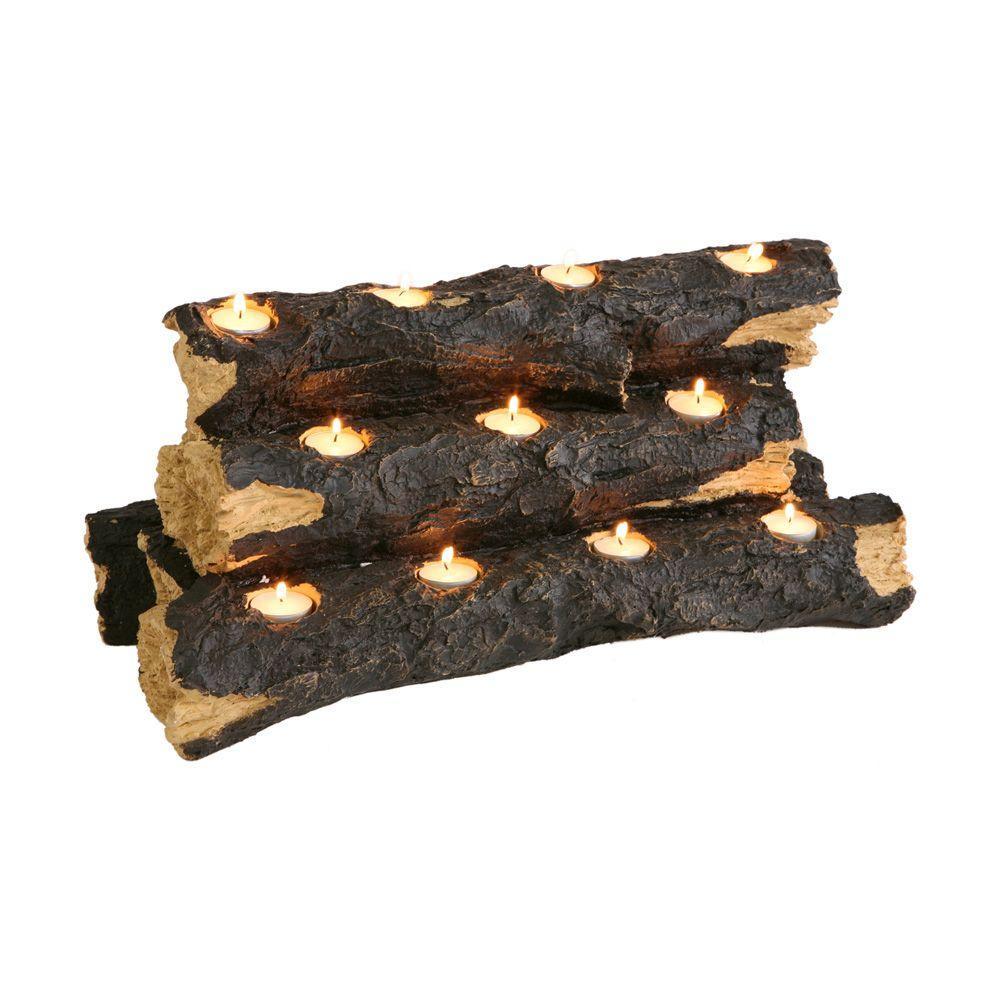 Resin Tealight Fireplace Log Candle Holder