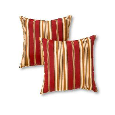 Roma Stripe Square Outdoor Throw Pillow (2-Pack)