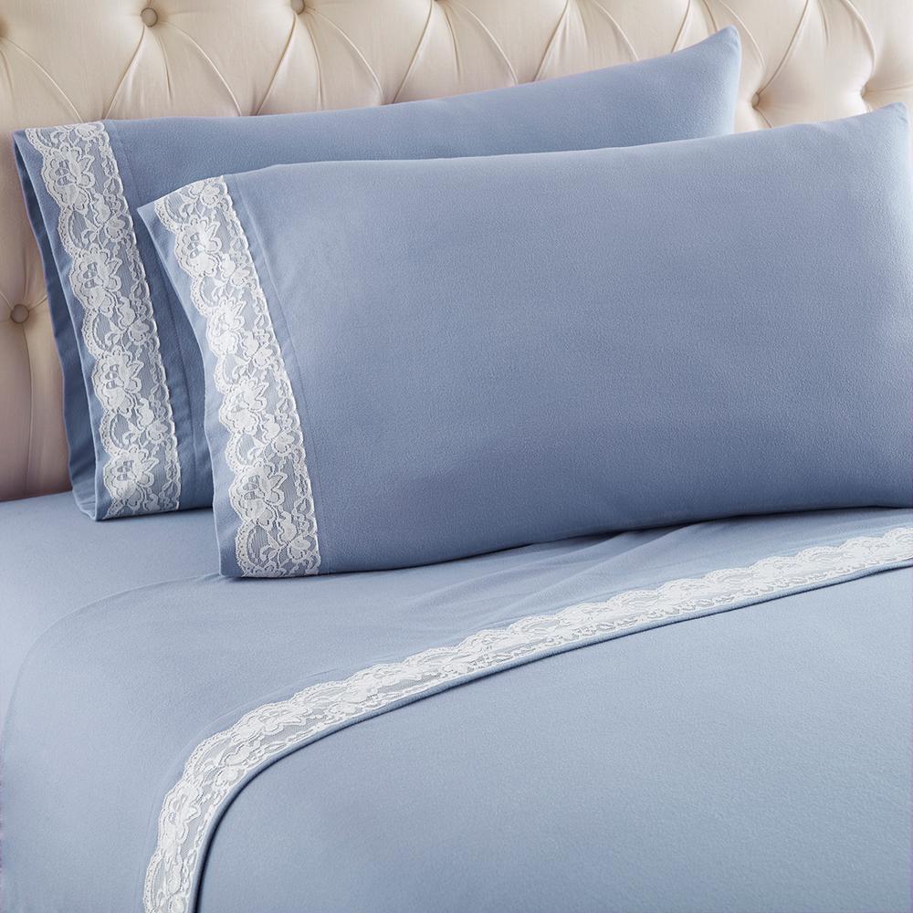 Wedgewood Blue California King Lace Edged Sheet Set