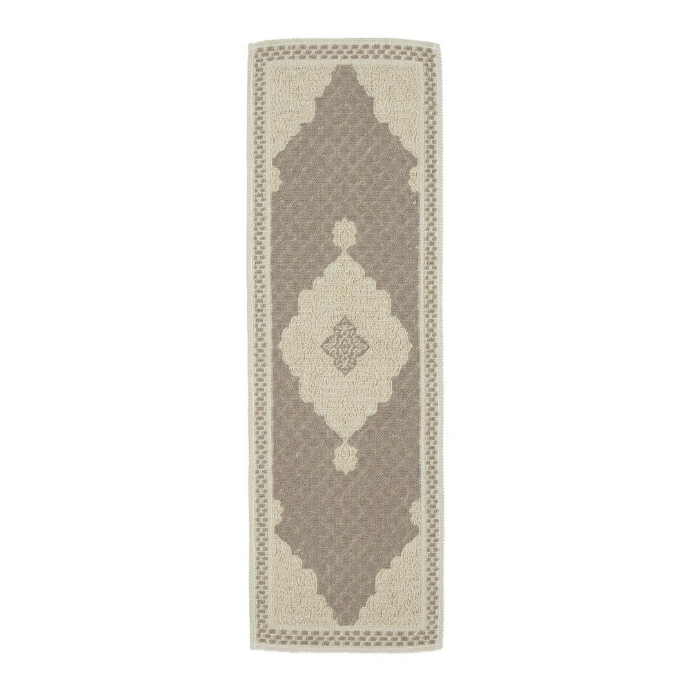 Ottomanson Nature Cotton Kilim Collection Grey Medallion Design 1 ft. 8 in. x 4 ft. 11 in. Runner Rug