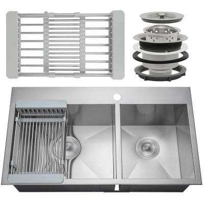 Handcrafted All-in-One Drop-In Stainless Steel 32 in. x 18 in. x 9 in. 60/40 Double Bowl Kitchen Sink w/ Tray and Drain