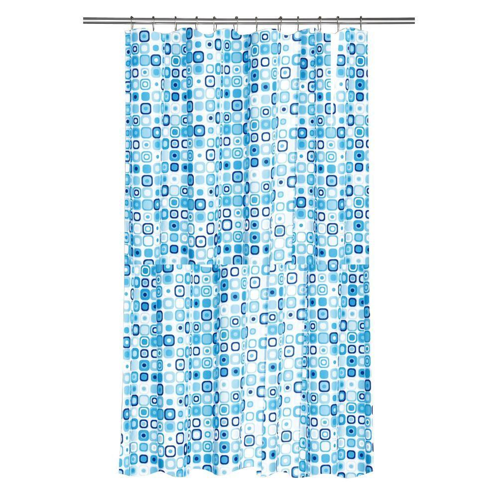 croydex shower curtain in geo mosaic blue af281624ywh. Black Bedroom Furniture Sets. Home Design Ideas