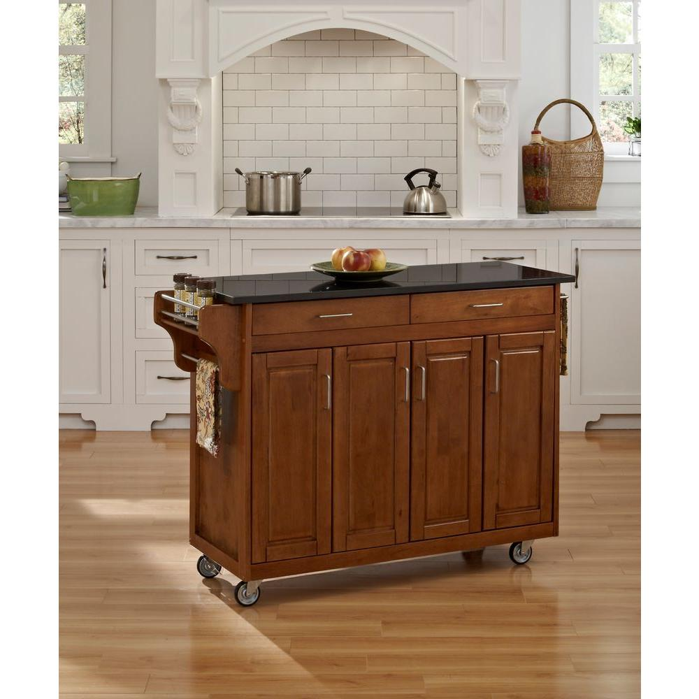 Beau Home Styles Create A Cart Warm Oak Kitchen Cart With Black Granite Top