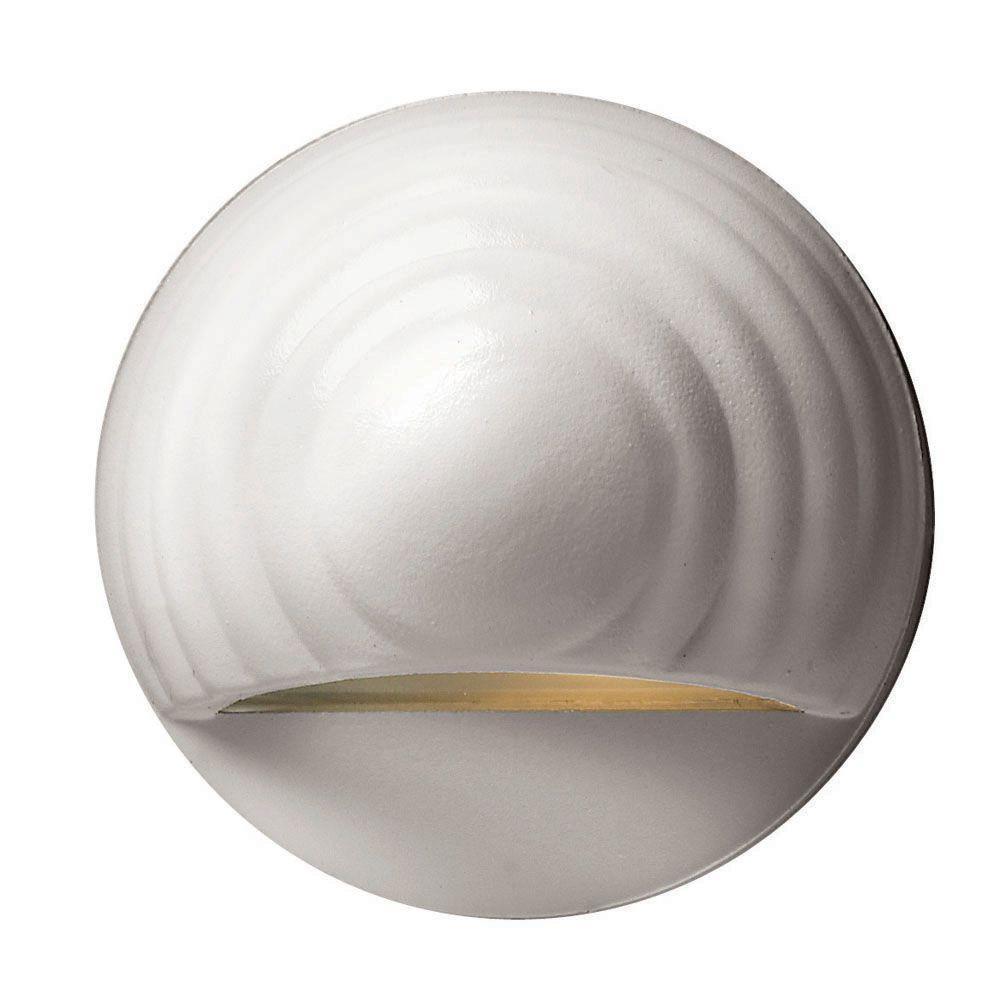 Low-Voltage 7-Watt Matte White Round Deck Sconce