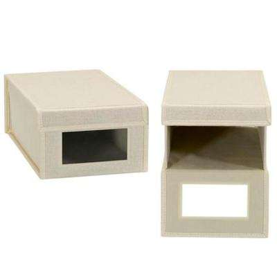 1-Pair Small Cream Linen Shoe Box with Drop Front Vision Front (2-Pack)