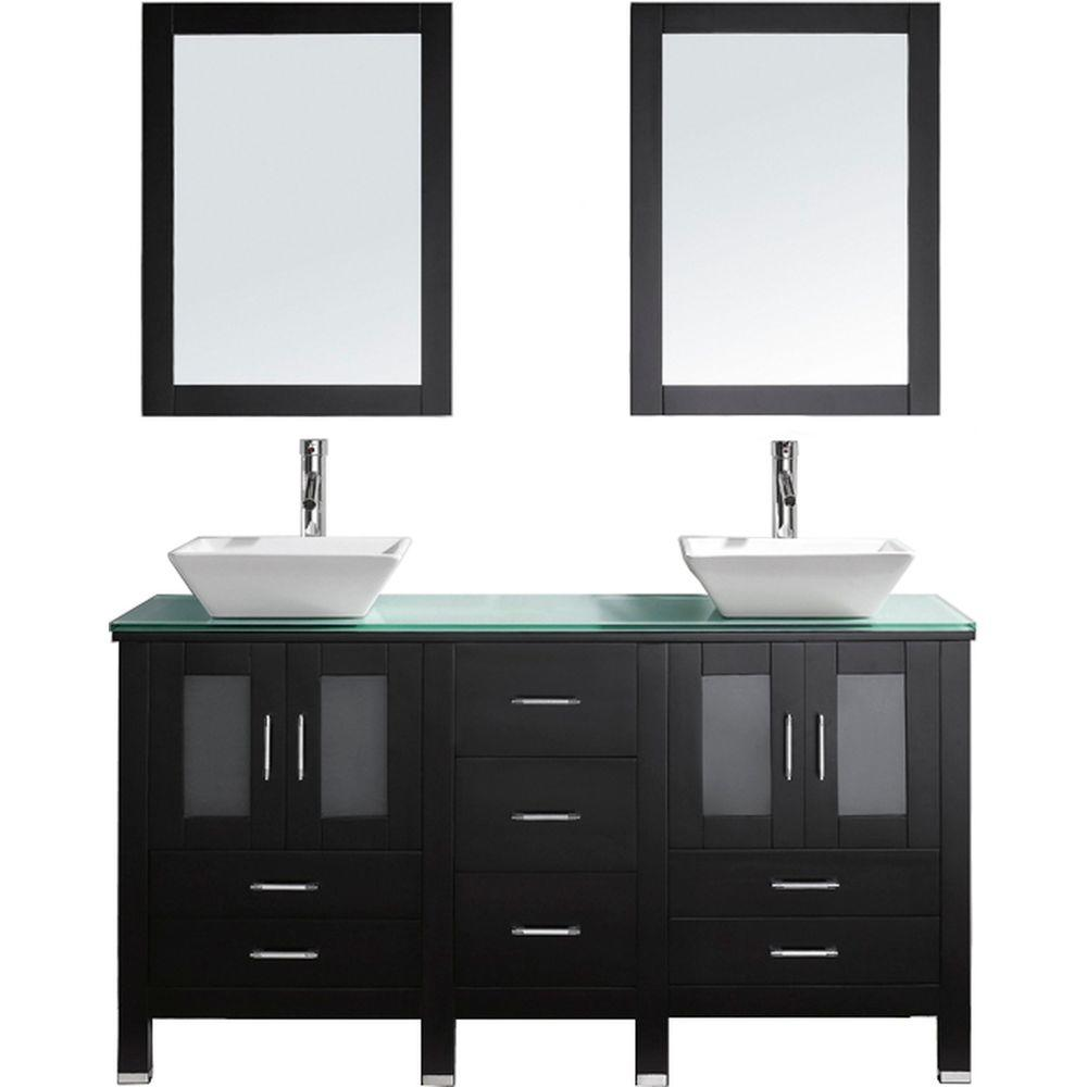 Tremendous Virtu Usa Bradford 60 In W Bath Vanity In Espresso With Glass Vanity Top In Aqua With Square Basin And Mirror And Faucet Download Free Architecture Designs Scobabritishbridgeorg
