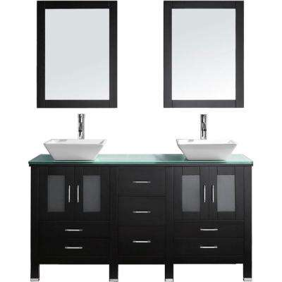 Bradford 60 in. W Bath Vanity in Espresso with Glass Vanity Top in Aqua with Square Basin and Mirror and Faucet