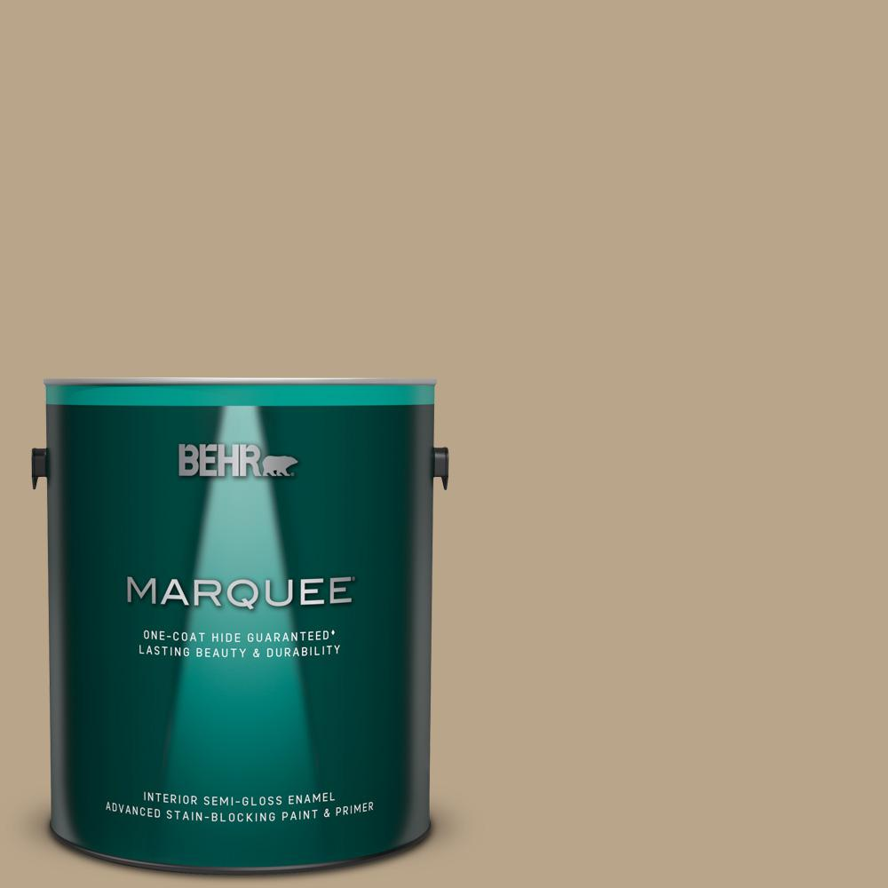 Behr Marquee 1 Gal 710d 4 Harvest Brown One Coat Hide Semi Gloss Enamel Interior Paint And Primer In