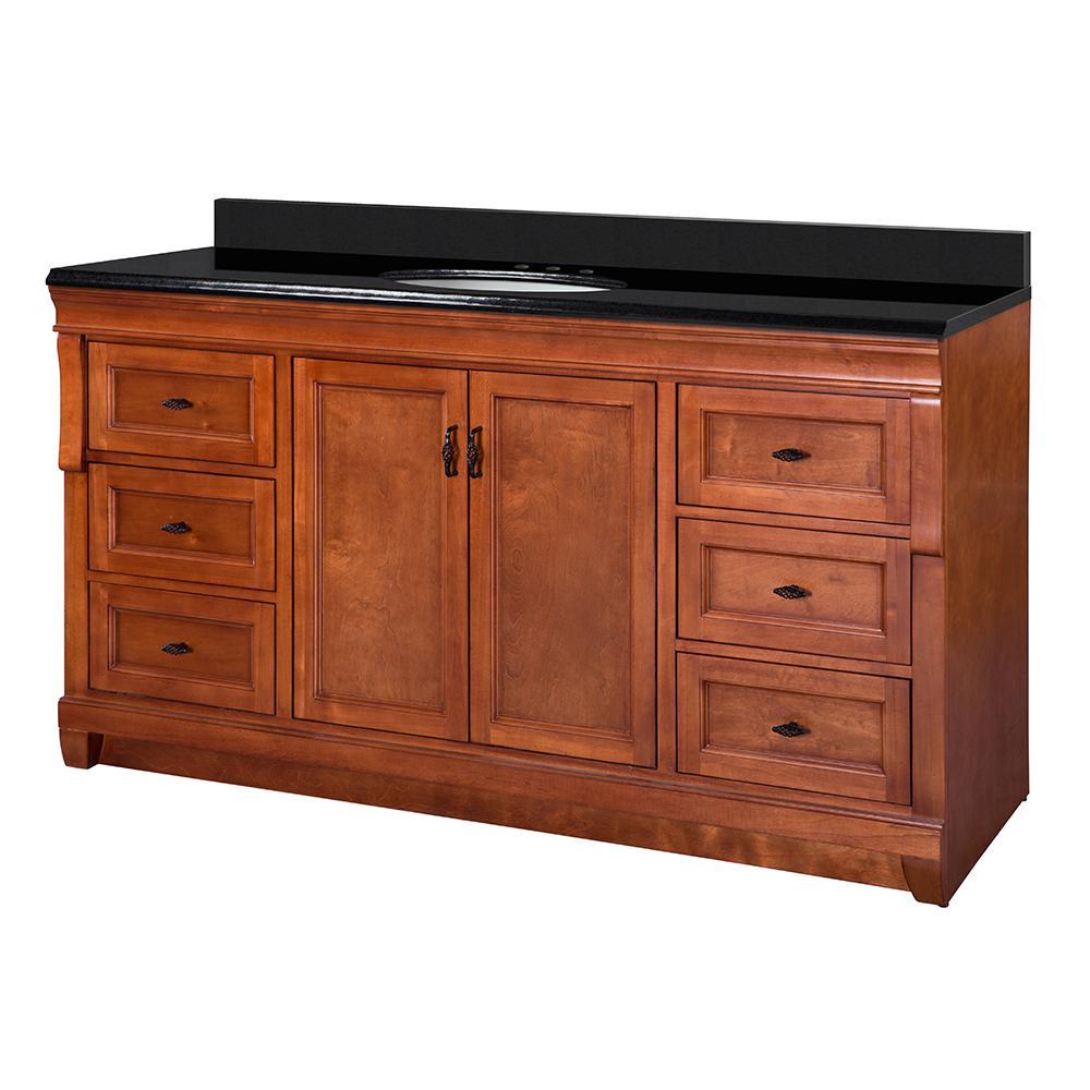 Naples 61 in. W x 22 in. D Vanity in Warm Cinnamon with Granite Vanity Top in Black with White Sink